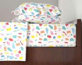 Terrazzo Sheet Set - Terrazzo by Stitch+Press - Kids' Modern Terrazzo Geometric  Langshan Sheet Set by Roostery with Spoonflower Fabrics