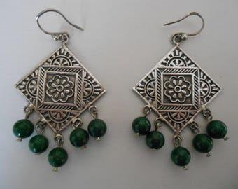 silver earrings with green bells, Egyptian jewellery, ethnic jewellery