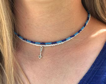 Seed Beaded Necklace, Blue and White Beaded Necklace, Choker Necklace, Compass Necklace