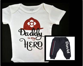 Thin Red Line, Firefighter, Fire, Fire Babies, Daddy Is My Hero,  2 Piece Set, Cusomized For Boy Or Girl