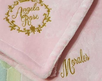 """Custom,  Personalized, Baby Girl, Pink or White Fluffy Soft Baby Blanket 30""""x40"""" - Super Plush and Makes A Really Nice Gift Item"""