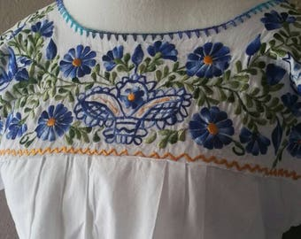 Embroidered Mexican Blouse, Boho Chic