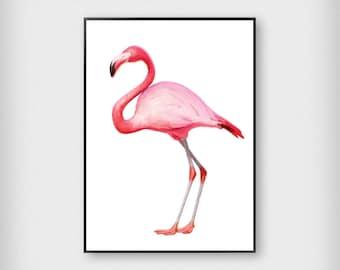 Flamingo Print   Tropical   Pink   Illustration - Modern - Poster