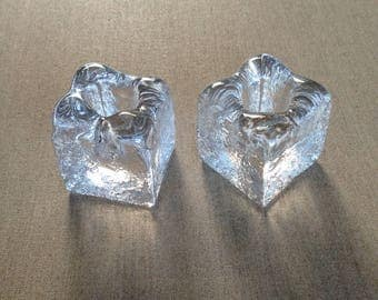 Vintage Orrefors Sweden ice glass candle holders
