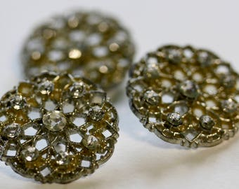 3 White Metal With Rhinestones Buttons