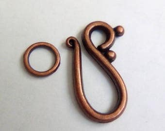 5 20x12mm red copper toggles clasps