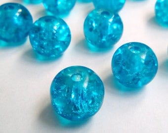 22 8mm blue Crackle glass beads