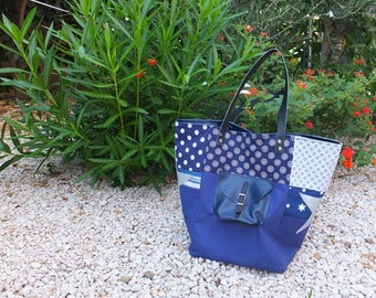 Blue different fabric tote bag.