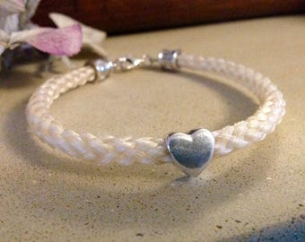 Horsehair bracelet with sterling silver bead