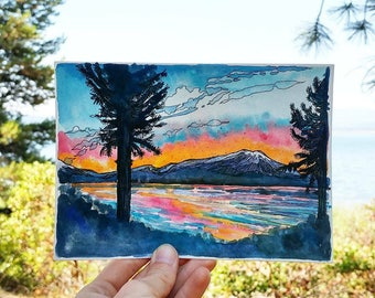 SALE,Cascade Lakes,original watercolor,landscape art,Bend,Oregon,pacific northwest,sunset,bright,5x7,ink,abstract painting,central oregon,