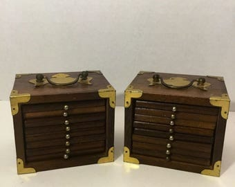 Two Vintage Wood Storage Boxes With Eight Coasters Each