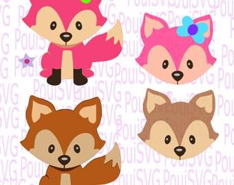 Fox svg, boy and girl svg,Baby animal,cutting file,silhouette cut,Woodland animal,Vinyl T-shirtdesign,Cricut cut file