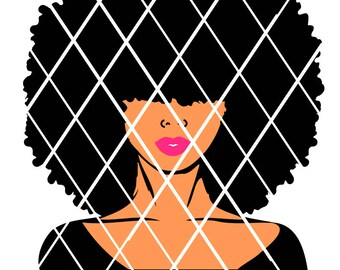Afro Hair Lady svg,Natural hair svg,Silhouette cutting file,African American,Women,Instant download,Black Beauty,Elsa svg,PNG file,DXF file