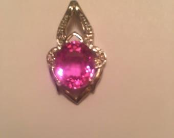 Beautiful 8.40ct Platinum Pink Tourmaline Pendent