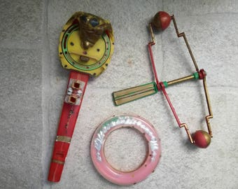 Antique plastic Toy, Whistle and ring for babies