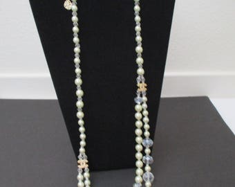 Designer Inspired pearl and glass crystal single to double strand necklace with gold accents