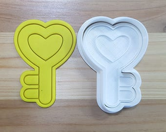 Heart Key Cookie Cutter and Stamp