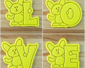 Bunny LOVE Cookie Cutter and Stamp