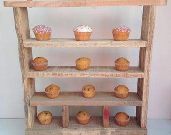 Rustic cupcake stand/reclaimed wooden cupcake stand