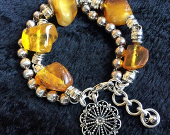 Large Baltic Amber on Silver Earth Fortune Bracelet