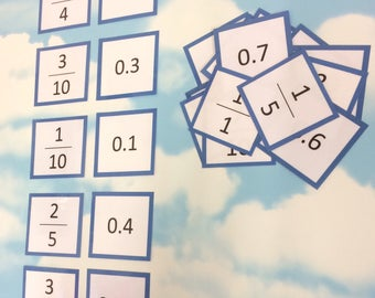 Fractions and decimals flash cards, KS2, Teaching resource, Educational cards, Matching cards, number cards, maths aid