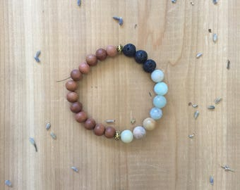 Essential Oil Diffuser Bracelet   Yoga Bracelet, Mala Beads   Meditation Bracelet   Yoga Jewelry   Amazonite   Lava Beads   Sandalwood