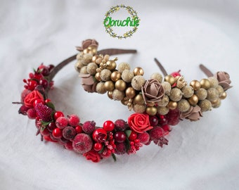 Gold , Red headband,Wedding headpiece,Party jewellery with fruits and berries Bridal crown, Pearl Bridal tiara