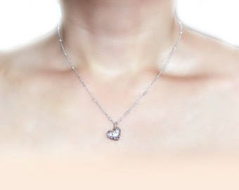 Heart-shaped hollowed out Necklace in Solid Sterling 925 Silver (SN007)