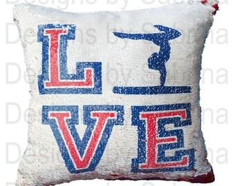 GYMNASTICS MERMAID PILLOW-Mermaid Pillow-Gymnastics Pillow-Sequin Pillow-Gymnast Gift-Coach Gift-Gymnast-Gymnastics-Fidget-Stress-Patriotic