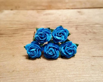 Bright Blue Rose Hairpin, Wedding Hair Piece, Gift for Her, Flower Hair Pins, Christmas Gift, Hair Accessory