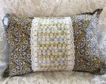 """12""""x20"""" measuring tape/paisley print accent pillow cover"""