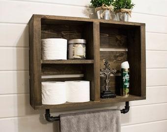 Rustic Bathroom Wall Shelf With Industrial Towel Bar Country Farmhouse Wood Wall Shelf Bathroom Cabinet Bath