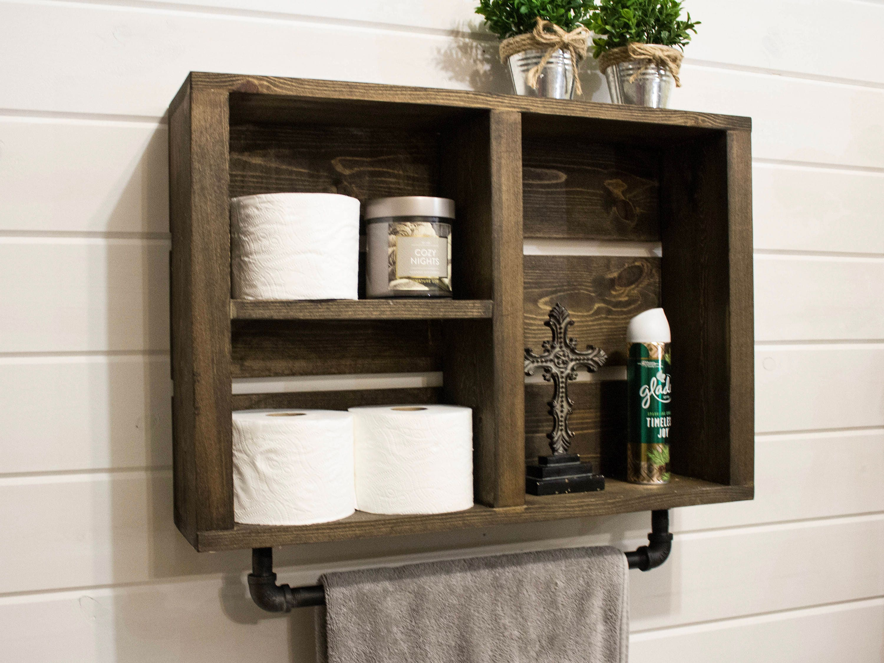rustic bathroom wall shelf with industrial towel bar country