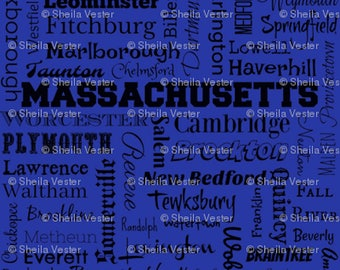 Massachusetts fabric - MA cities typography fat quarter - FQ - blue or gray