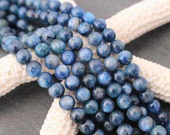 Kyanite Beads, Round, 6mm, Full or Half Strand, Natural Kyanite, Blue Stone, 6mm Beads, 6mm Blue, Gemstone Beads, Kyanite, Blue Kyanite