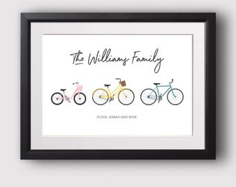 Personalised bike family print, House warming present, Family bike print, New home gift, Cycling gift (Unframed)