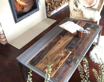 Handmade Rustic Reclaimed Wood & Steel Coffee Table - Vintage Industrial Coffee Table unique brown silver legs