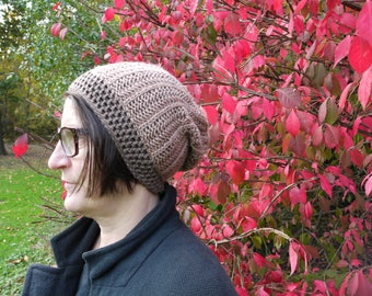 Two tone brown hand knit hat 100% wool