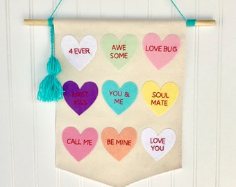 Valentine's Day Banner // Conversation Heart Banner //  Conversation Hearts //  Valentine's Banner // Valentine's wall hanging //