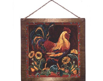 8x8 Rustic Rooster Home Decor Sign with Choice of Black Wire, Brown Ribbon or Craft String for Easy Hanging