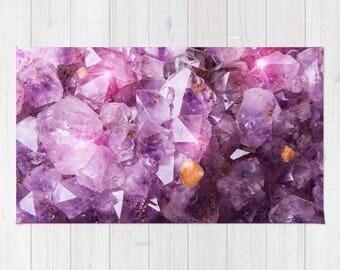 Purple Amethyst Crystal Rug, Purple Nursery Rug, Purple Area Rug, Purple Dorm Rug, Violet Purple Area Rug, Polyester Rug, Purple Decor