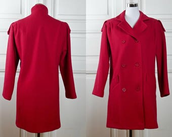 Women's Wool Coat, 1980s Vintage Red Double-Breasted Winter Wool Coat w Epaulets, Short Wool Coat, Made in Poland: Size 10 US, Size 14 UK