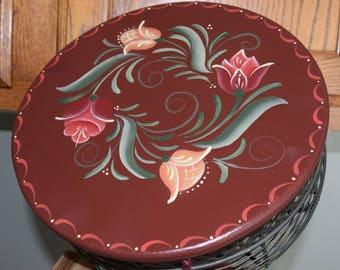 Wire basket, Hand painted basket with wood top,egg basket, floral design