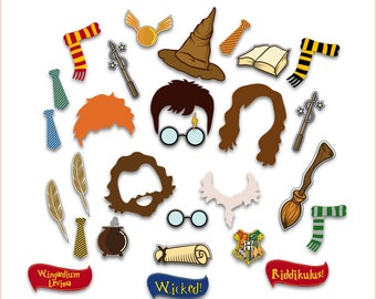 Harry Potter Photo Booth Props, Harry Potter Birthday Party, Harry Potter Masks, Harry Potter Party Printables Decor - INSTANT DOWNLOAD