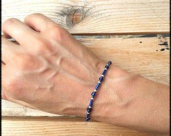 Acryllic beaded hard Bohemian indie style blue glass seed beads