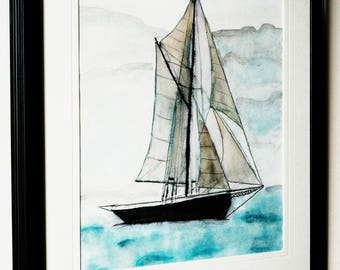Boat illustration decoration, illustration, nautical, boat, poster, watercolor painting, acrylic and watercolor painting