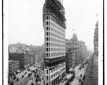 vintage photography-Big Size A2, A1-fine art black and white - NYC Flatiron Building 1902 construction - fine art print