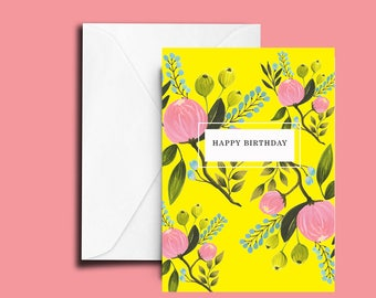 Happy Birthday Card, Floral Card, Birthday, Hand Painted, Greeting Card, Stationary