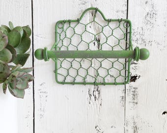 Farm House Toilet Paper Holder, Chicken Wire Towel Holder,  Ranch Style Bathroom Decor, Remodel, Shabby Chic,