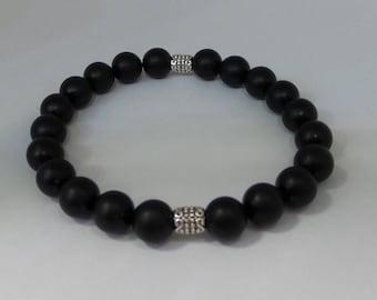 Onyx Bracelet/ Beaded Bracelet/ Black Matte Onyx Bracelet/ Layering Bracelet